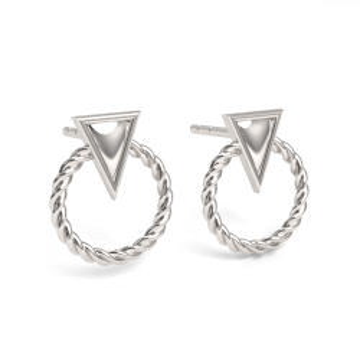 Sztyfty / kolczyki trójkąty z kółeczkiem, srebro 925 SZ 139