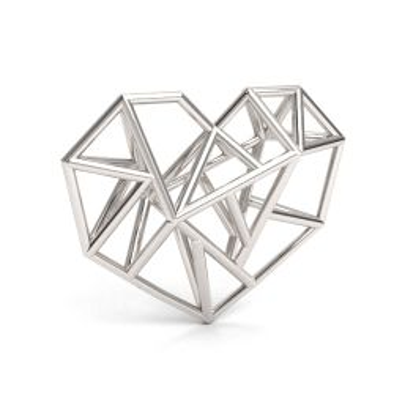 Duże przestrzenne serce origami / geometryczne, srebro 925 S-CHARM 757