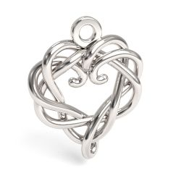 Zawieszka ażurowa serce, srebro 925 S-CHARM 694