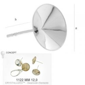 Baza kolczyków rivoli 12 mm srebro próba 925 OKSV 7