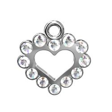 Serce z kamieniami, srebro 925 S-CHARM 137
