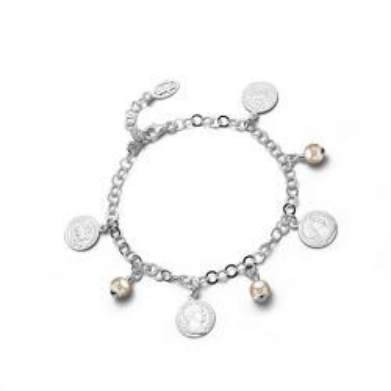 Bransoletka perełki i monety,  srebro próby 925, PP-00447